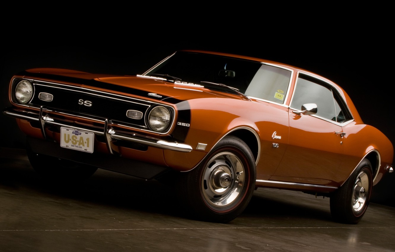 Photo wallpaper orange, background, coupe, Chevrolet, Camaro, Chevrolet, Camaro, the front, 1968, Muscle car, 350, Muscle car