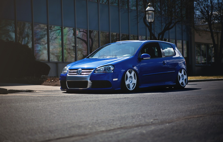 Photo wallpaper blue, tuning, volkswagen, Golf, R32, golf, gti