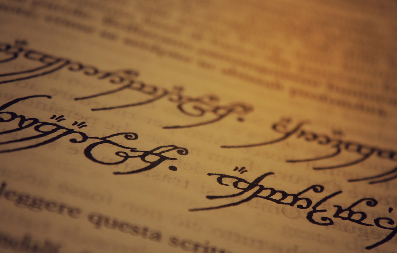 Photo wallpaper The Lord of the Rings, paper, ink, writing, J. R. R. Tolkien, Sindarin