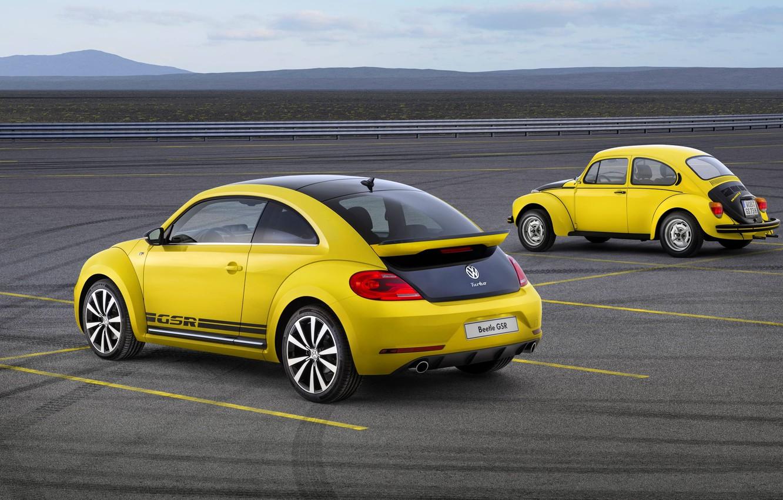 Photo wallpaper Yellow, Retro, Volkswagen, Beetle, Two, GSR, Beatle