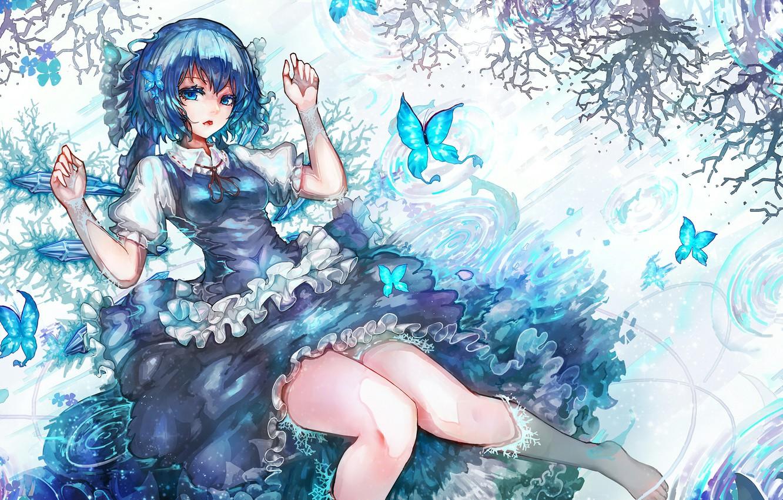 Photo wallpaper water, girl, butterfly, flowers, branch, anime, art, touhou, cirno, kiyomasa ren