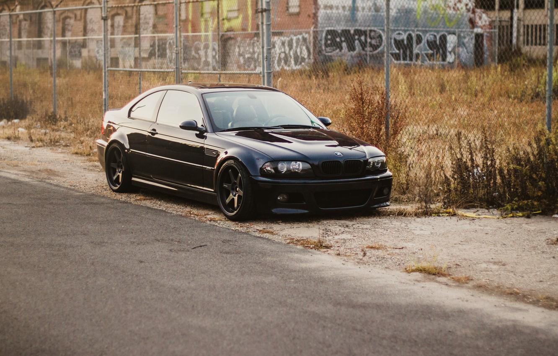 Photo wallpaper black, the building, bmw, BMW, the fence, black, roadside, e46