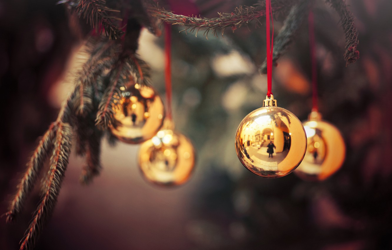 Photo wallpaper branches, balls, tree, New Year, decoration