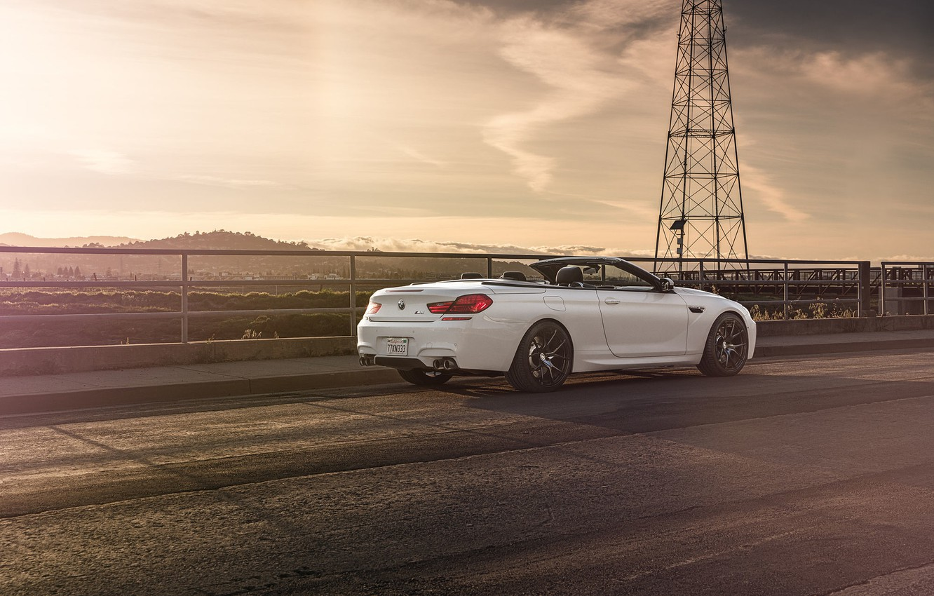 Photo wallpaper BMW, White, Forged, Convertible, Wheels, Rear, Strasse