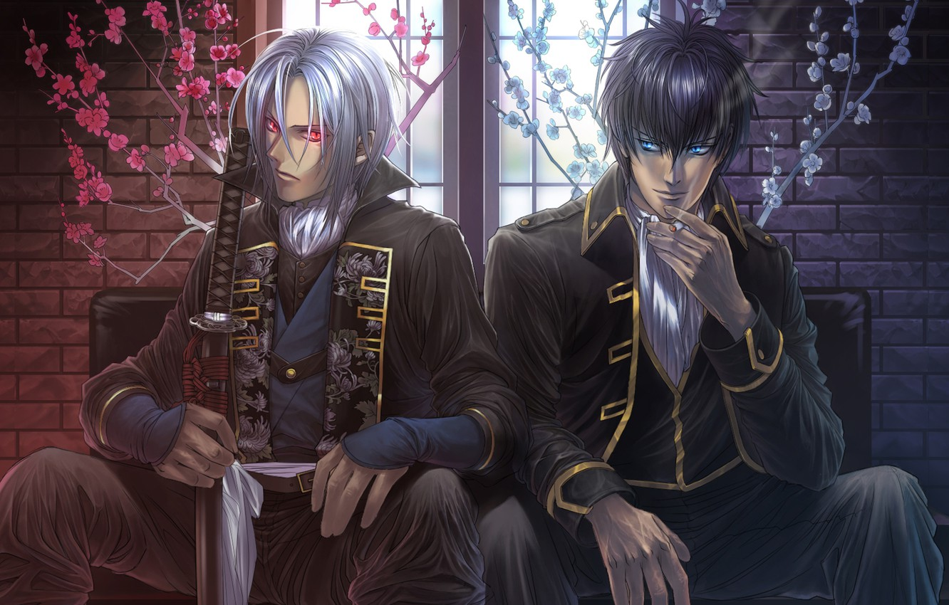 Photo wallpaper flowers, smoke, sword, katana, window, cigarette, guys, red eyes, sitting, Hakuouki, demons pale cherry, Gintama, …
