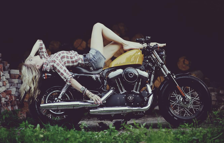 Photo wallpaper girl, Harley, motorcycle, Harley Davidson, bike, legs, photo, Maxim Gurtovoy
