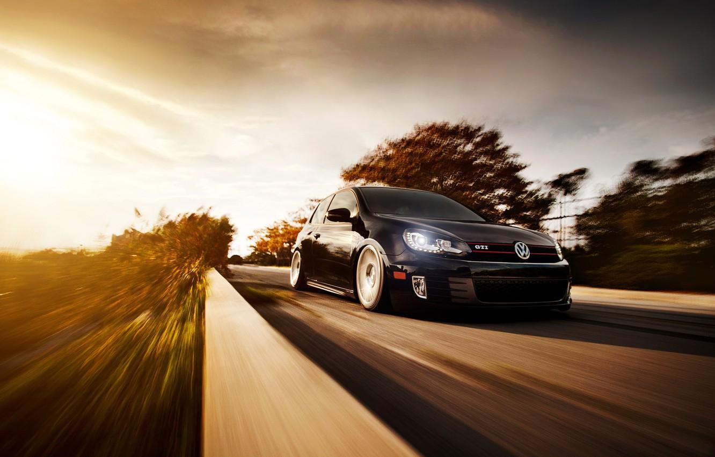 Photo wallpaper road, black, speed, blur, Volkswagen, black, Golf, Golf, GTI, front, Volkswagen, Type 5G