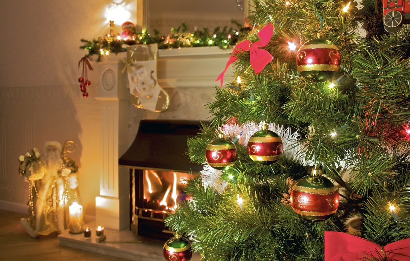 Photo wallpaper room, holiday, tree, candles, tree, fireplace, Santa Claus