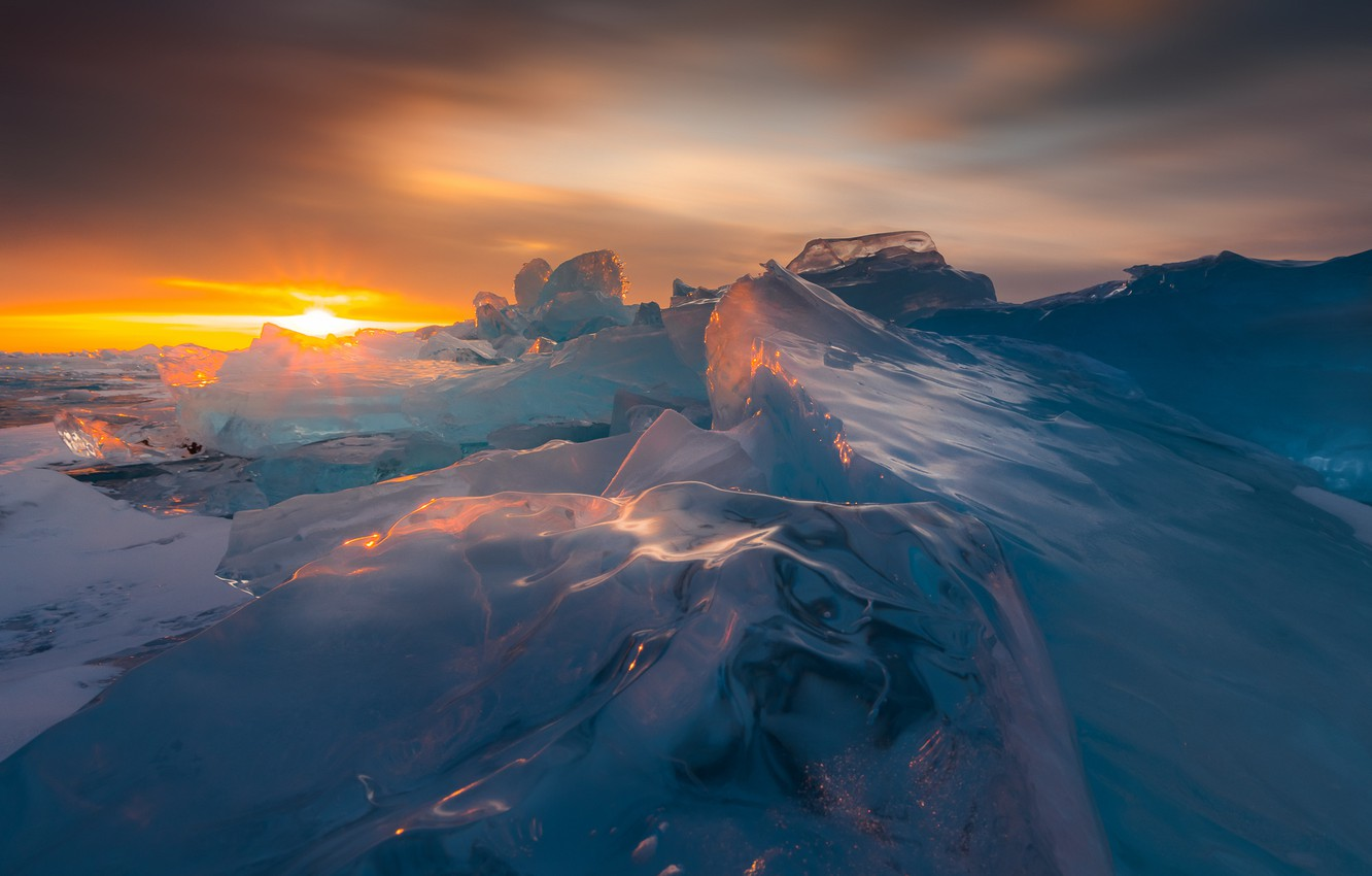 Photo wallpaper ice, winter, sunset, nature