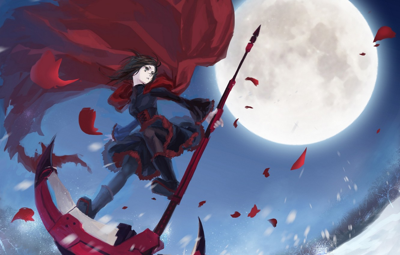 Photo wallpaper girl, snow, trees, weapons, the moon, anime, petals, art, braid, cloak, mizukai, ruby, rwby
