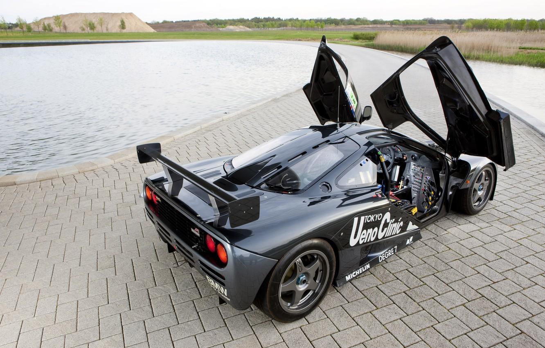 Photo wallpaper landscape, black, McLaren, pool, door, track, back, gtr, racing, open