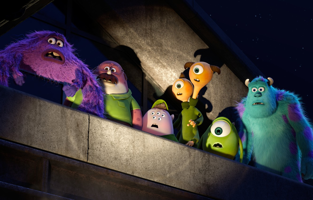 Photo wallpaper roof, night, cartoon, stars, monsters, students, Academy of monsters, Monsters University, Inc., Monsters Inc., Monsters …