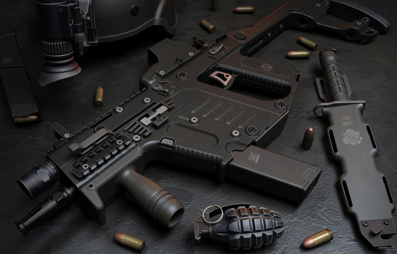 Photo wallpaper gun, USA, weapon, charger, knife, pearls, ammunition, Kriss Super V, Kriss, ordnance, grenade, submachine gun, …