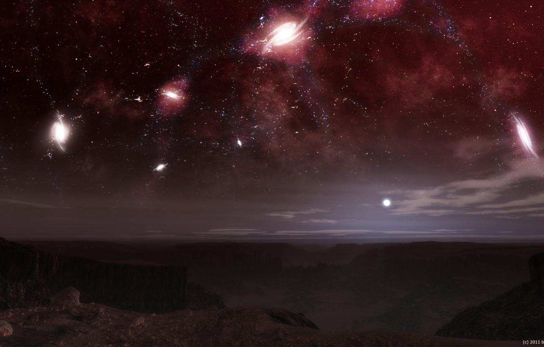Photo wallpaper the sky, stars, night, constellation, galaxy, alien planet