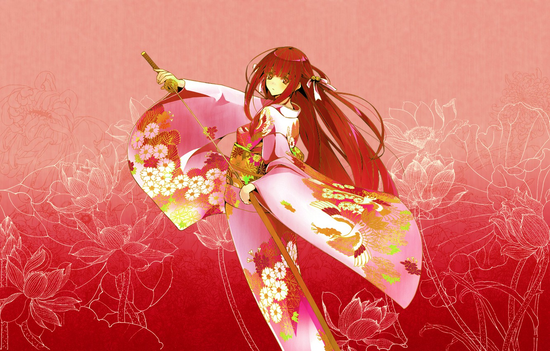 Photo wallpaper girl, flowers, pattern, katana, red, kimono, pink background, sheath