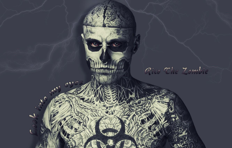Photo wallpaper eyes, lightning, tattoo, Rico, The zombie, human skeleton