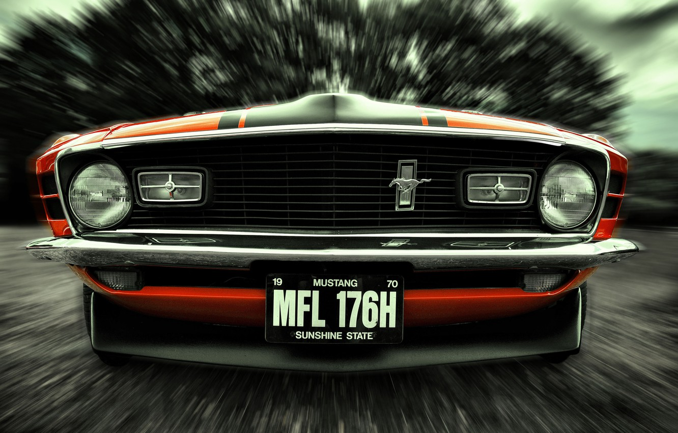 Photo wallpaper Mustang, Ford, 1970, front