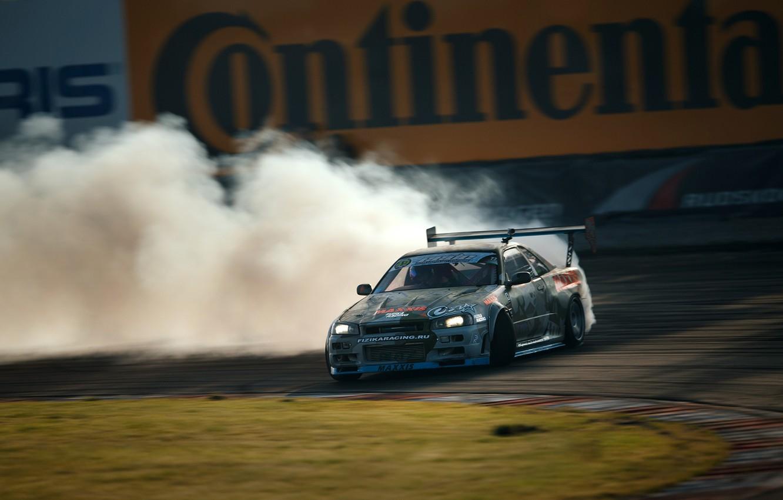 Photo wallpaper GTR, drift, Nissan, drift, skyline, R34, Maxim Tvardovsky