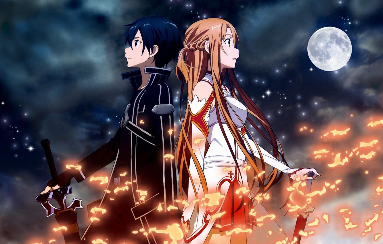 Photo wallpaper girl, night, weapons, fire, the moon, sword, guy, sword art online, kirito, asuna