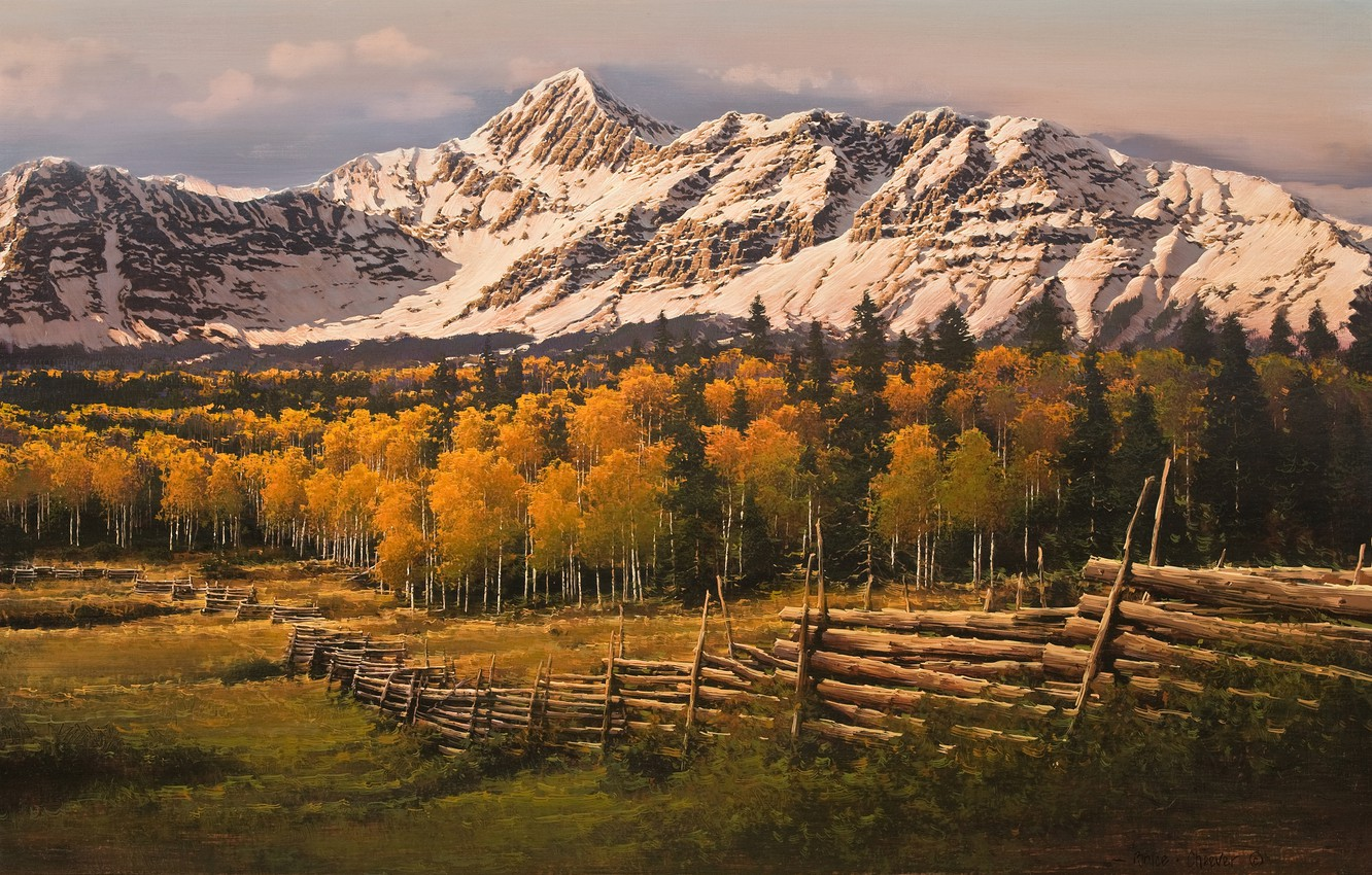Photo wallpaper autumn, forest, snow, mountains, the fence, birch, painting, Bruce Cheever, Touched By Gold San Juan …