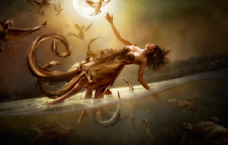 Photo wallpaper water, girl, fantasy, the moon, art, flight, Diversity