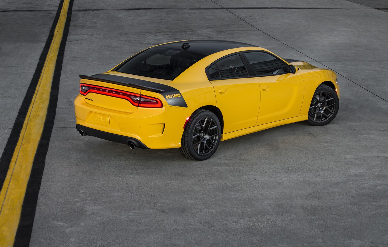 Photo wallpaper car, Dodge, car, Dodge, yellow, Charger, Daytona