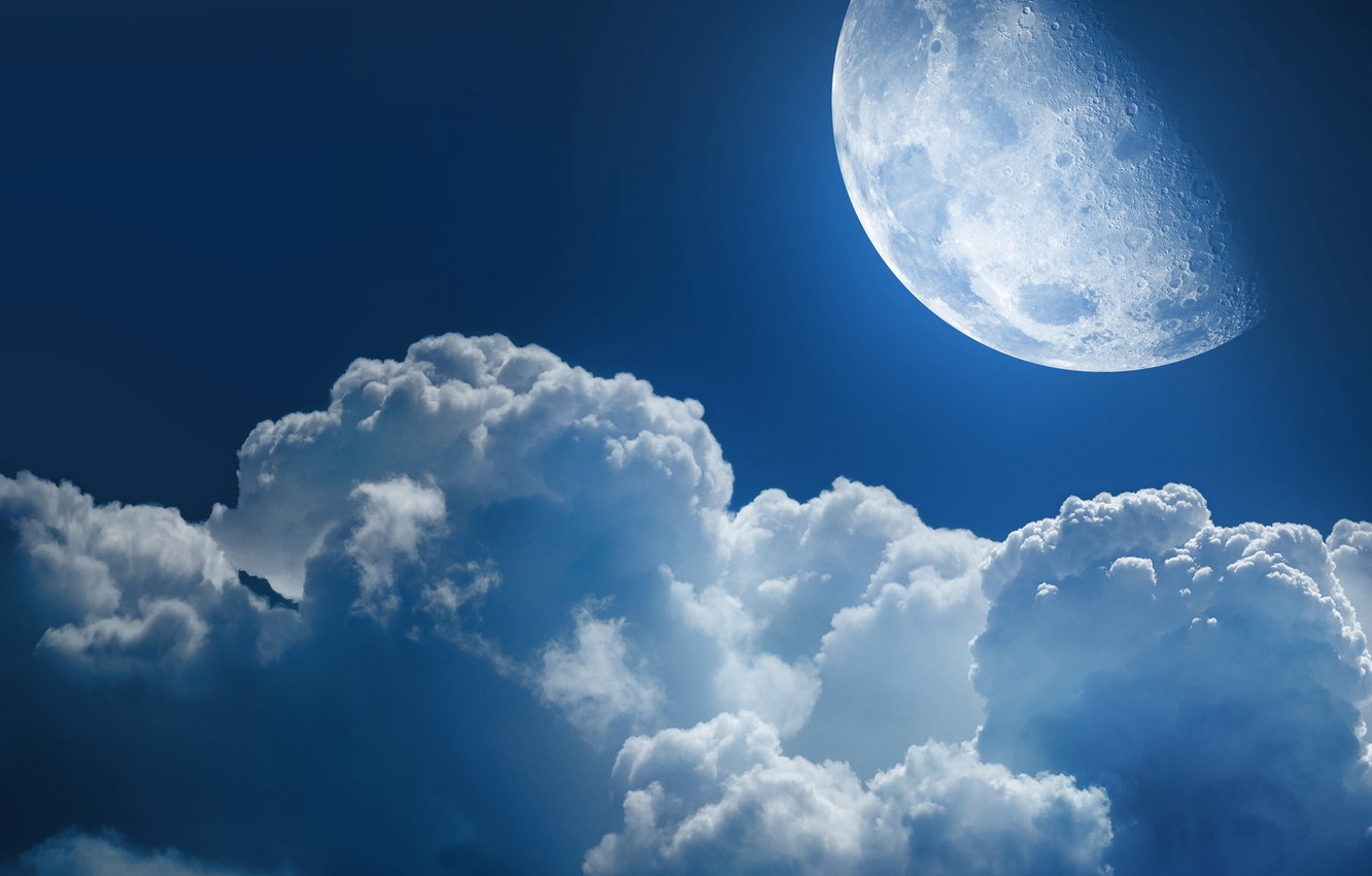 Photo wallpaper the sky, space, stars, clouds, night, the universe, the moon, heaven, star, planet, planet, cloud, …