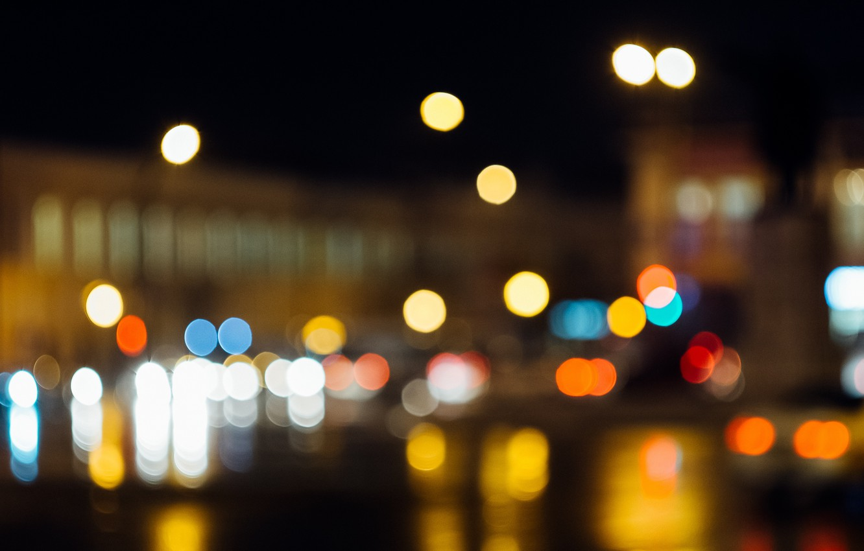 Photo wallpaper night, the city, lights, bokeh