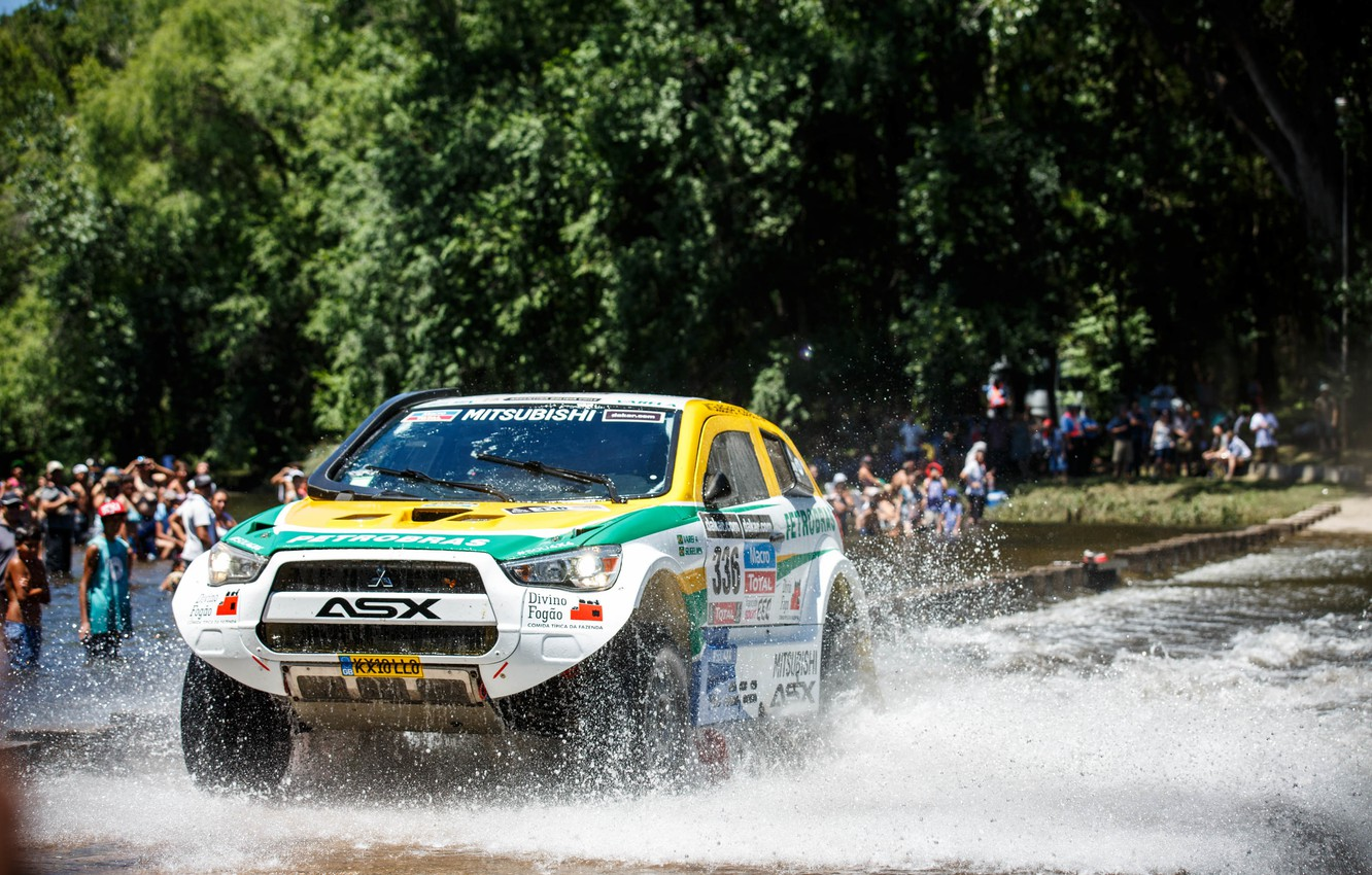 Photo wallpaper Water, Sport, Machine, Race, Day, Mitsubishi, Squirt, Rally, Dakar, SUV, Rally, The front, 2014, Stage