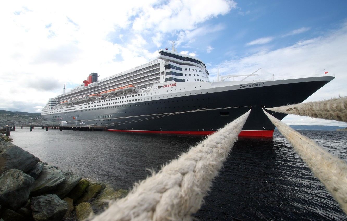 Photo wallpaper sea, clouds, shore, ship, tour, mooring lines, queen mary