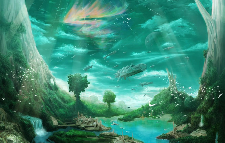 Photo wallpaper trees, birds, the city, river, waterfall, ships, art, giant, habata