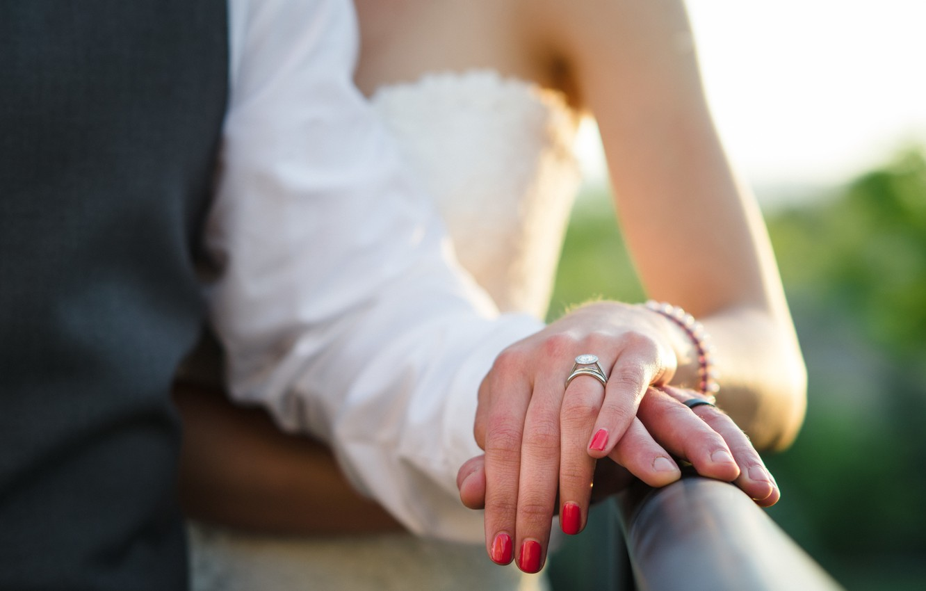 Photo wallpaper hands, ring, the bride, wedding, the groom, manicure