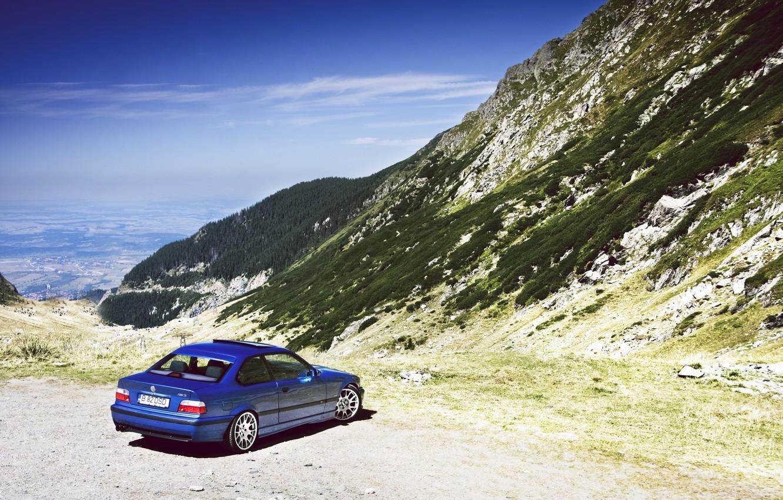 Photo wallpaper Mountains, BMW, Boomer, Classic, Blue, BMW, Landscape, stance, E36