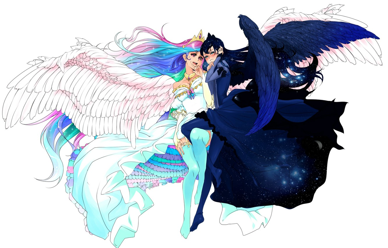 Photo wallpaper night, wings, stockings, crown, the demon, day, white background, tail, angel and demon