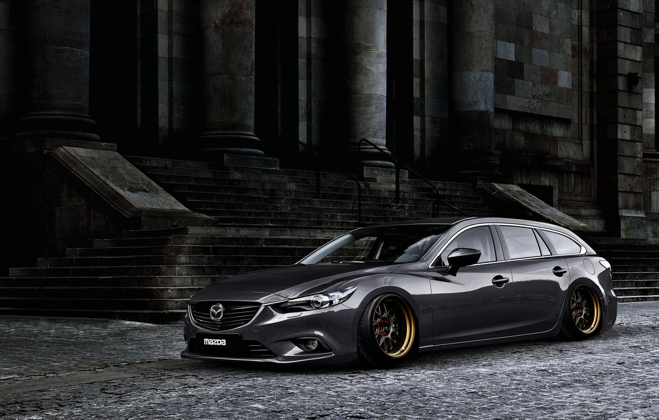 Photo wallpaper Mazda, Tuning, Stance, Silver, Wheels, Works, Speed 6