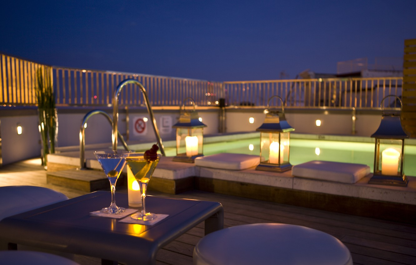 Photo wallpaper wine, romance, the evening, candles, pool