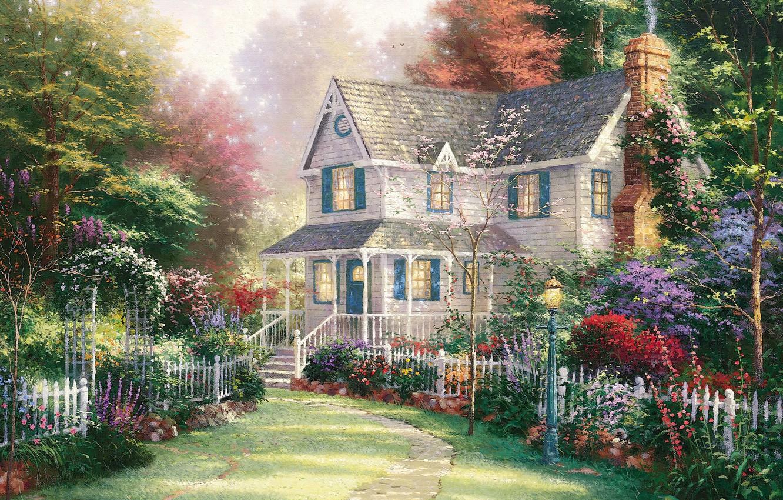 Photo wallpaper summer, house, garden, summer, house, painting, cottage, garden, Thomas Kinkade, painting, Thomas Kinkade, cottage, Victorian …