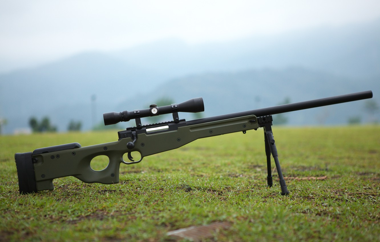 Photo wallpaper grass, weapons, earth, optics, rifle, sniper, awp, bipod, awm, Arctic Warfare Magnum
