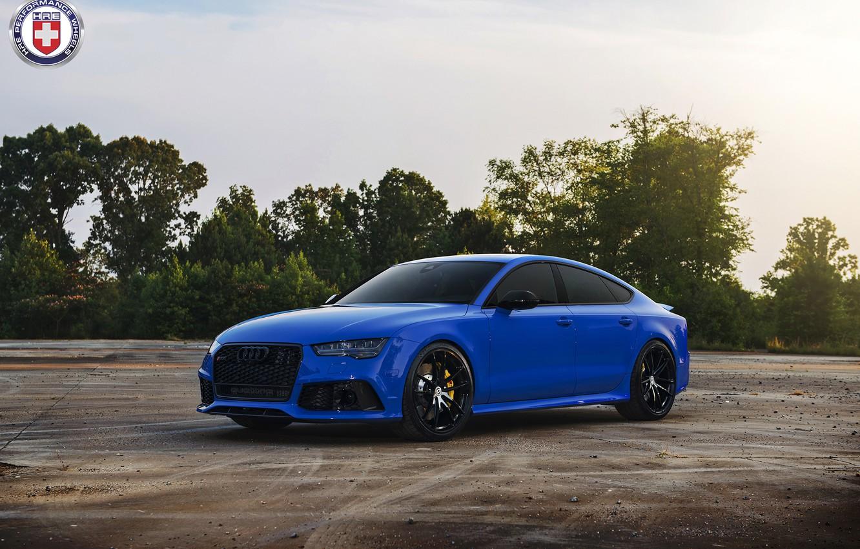Photo wallpaper Audi, Blue, RS7, HRE, P104