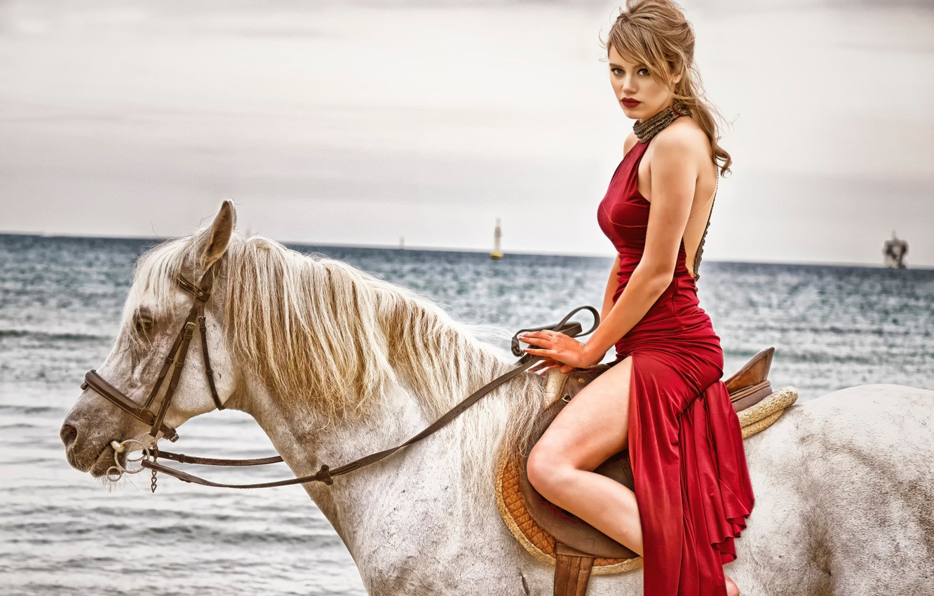 Photo wallpaper girl, horse, dress, in red