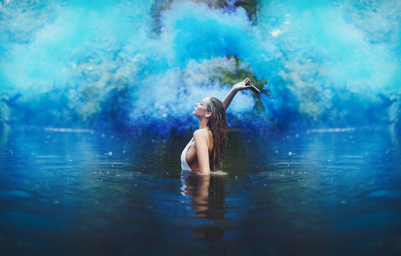 Photo wallpaper girl, smoke, blue, lake