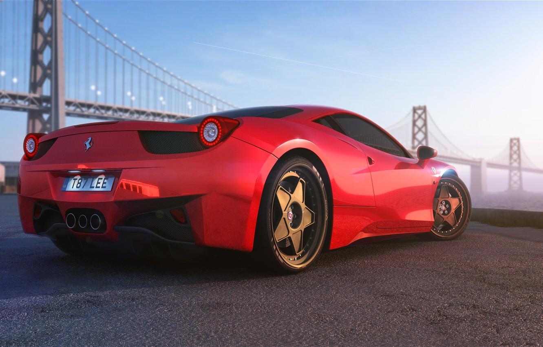 Photo wallpaper Ferrari, Red, 458, Bridge, Vintage, Italia, Supercar, Wheels, HRE