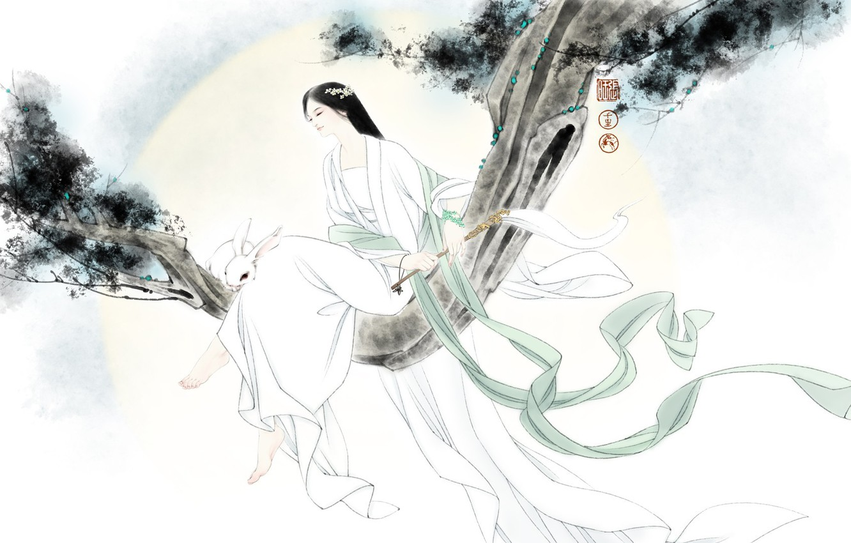 Photo wallpaper girl, mood, the wind, branch, rabbit, art, Bunny