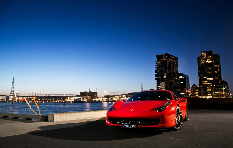 Photo wallpaper the city, shadow, red, ferrari, Ferrari, promenade, Italy, the front, 458 italia