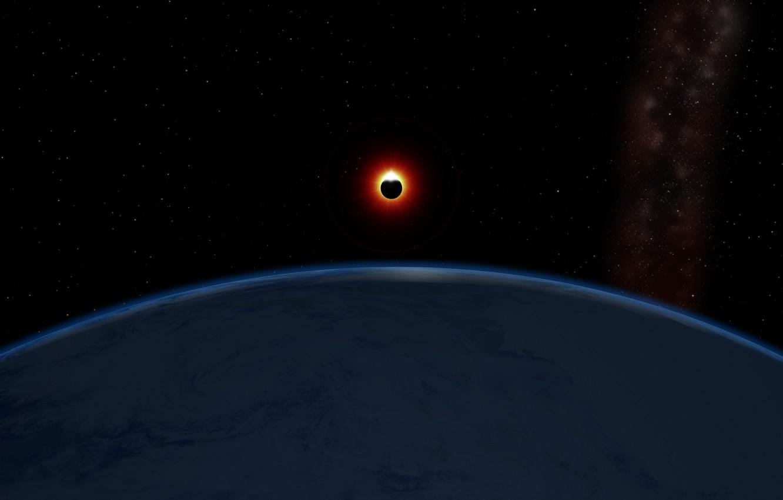 Photo wallpaper planet, satellite, Eclipse
