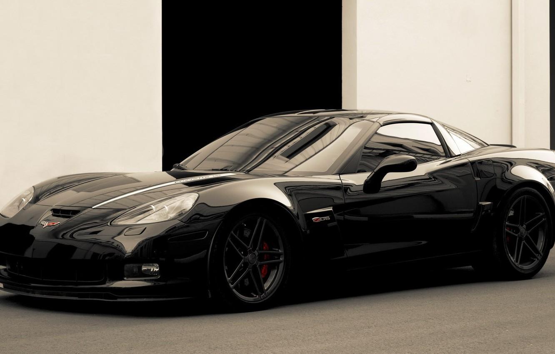 Photo wallpaper machine, auto, asphalt, wall, color, black, Chevrolet Corvette