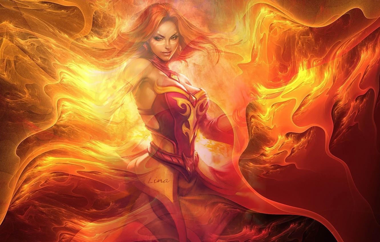Photo wallpaper girl, decoration, flame, magic, Lina Inverse, DOTA, Defense Of The Ancients