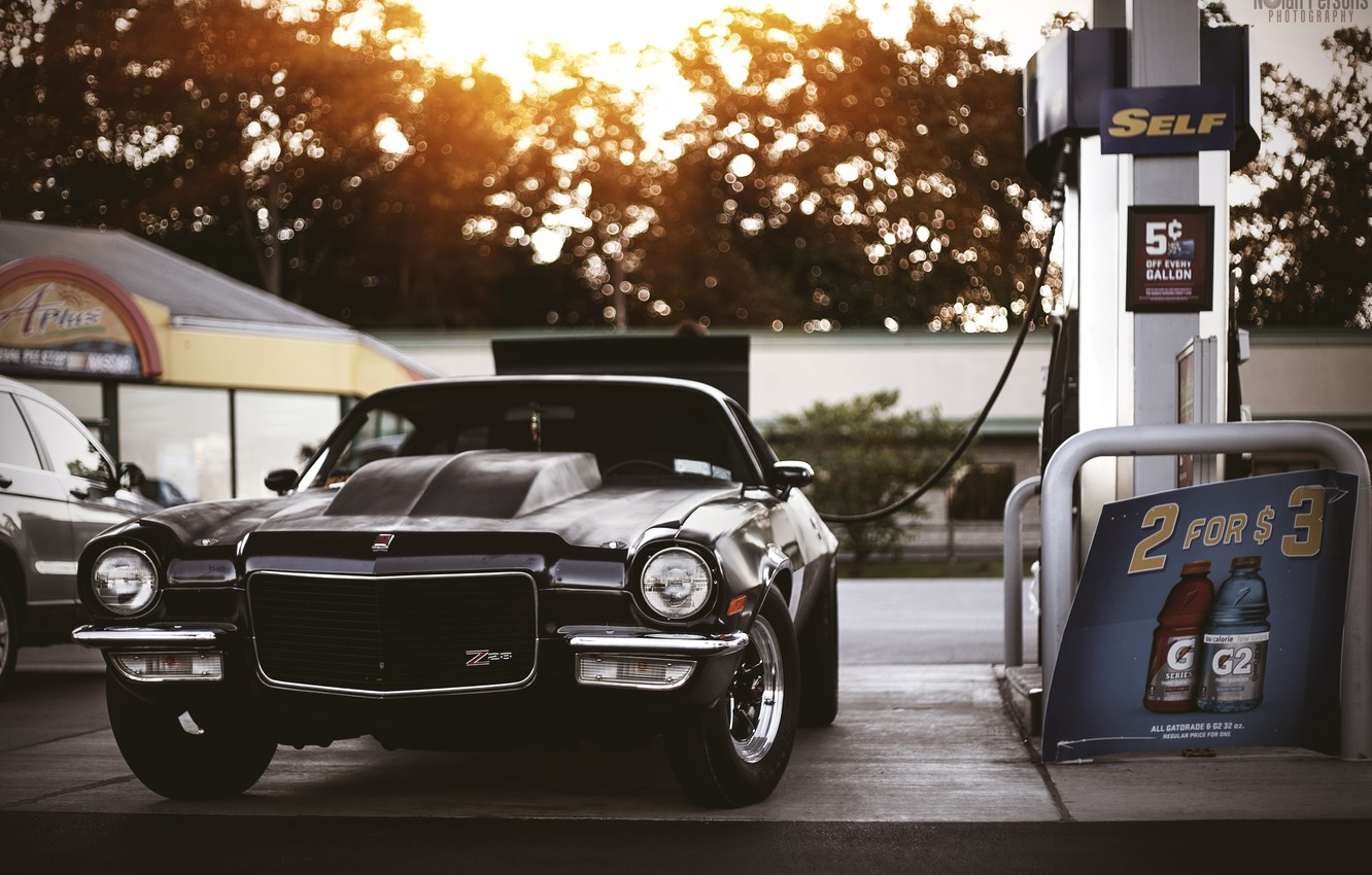 Photo wallpaper dressing, muscle car, chevy, chevrolet camaro