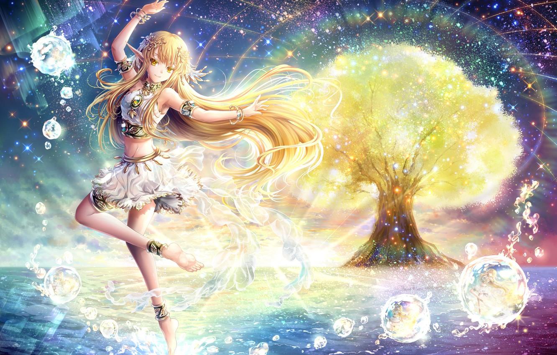Photo wallpaper water, tree, elf, ears, anime, art, girl, riyun