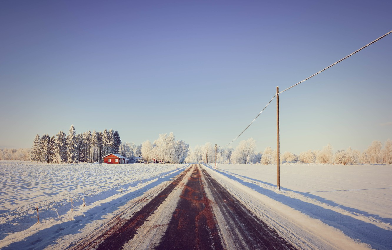 Photo wallpaper road, snow, trees, house, house, road, trees, snow, power lines, power line